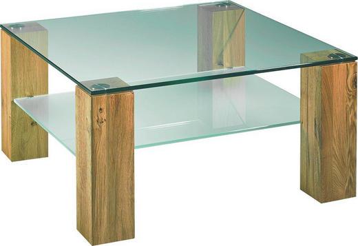 COUCHTISCH Kernbuche massiv quadratisch Buchefarben - Buchefarben, Design, Glas/Holz (80/80/44cm) - Novel