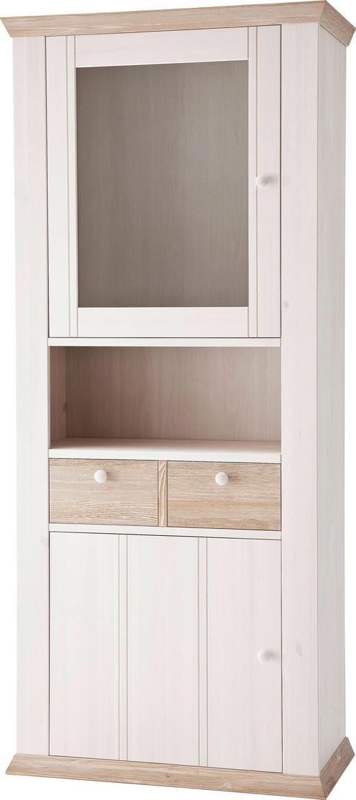 VITRINE Kiefer massiv Weiß - Weiß, LIFESTYLE, Glas/Holz (89/204/43cm) - Carryhome