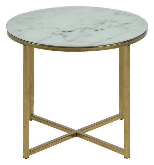 COUCHTISCH rund Grau, Messingfarben, Weiß - Messingfarben/Weiß, MODERN, Glas/Metall (50/42cm) - Carryhome