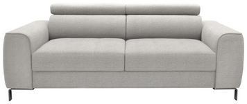 DREISITZER-SOFA Webstoff Hellgrau - Chromfarben/Hellgrau, Design, Textil/Metall (199/76-96/98cm) - Hom`in