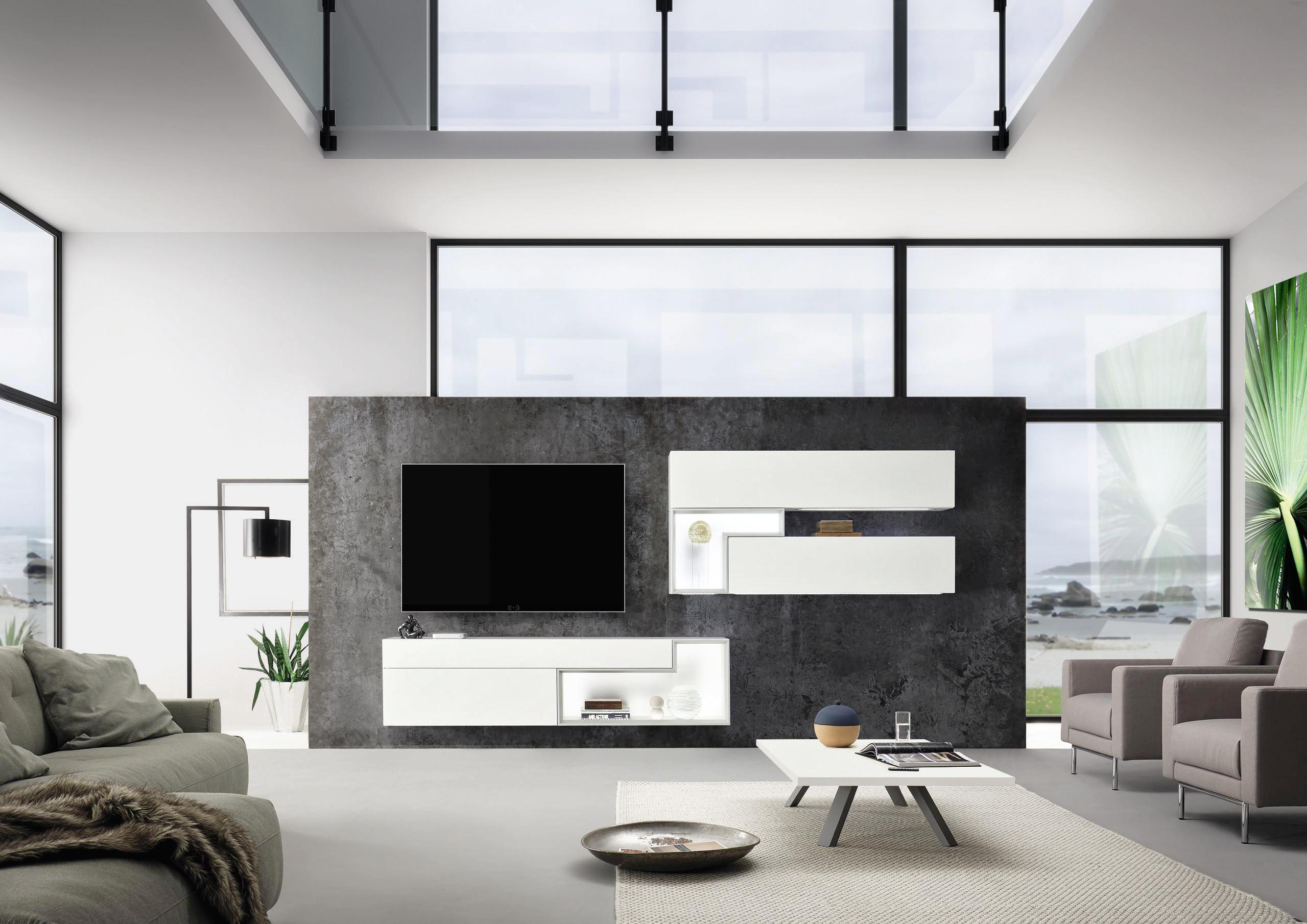 WOHNWAND Weiß   Weiß, Design, Glas (352/158/45cm)