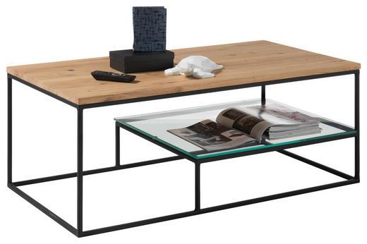 COUCHTISCH in Glas, Holz, Metall - Klar/Eichefarben, MODERN, Glas/Holz (110/60/42cm) - Hom`in