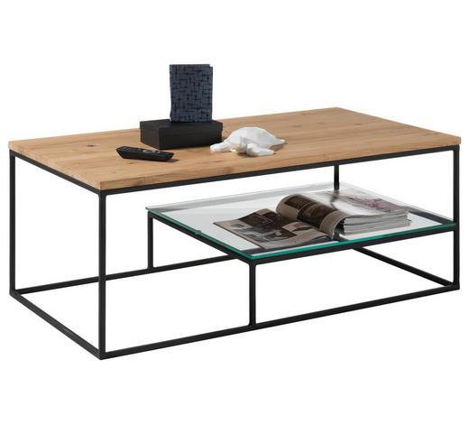 COUCHTISCH in Holz, Metall, Glas 110/60/42 cm - Klar/Eichefarben, MODERN, Glas/Holz (110/60/42cm) - Hom`in