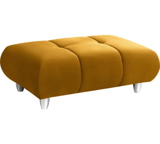 HOCKER in Textil Gelb - Chromfarben/Gelb, Design, Kunststoff/Textil (125/40/75cm) - Hom`in