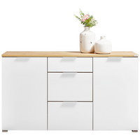 KOMODA, bela, hrast - aluminij/bela, Design, kovina/steklo (145/82/40cm) - VOLEO