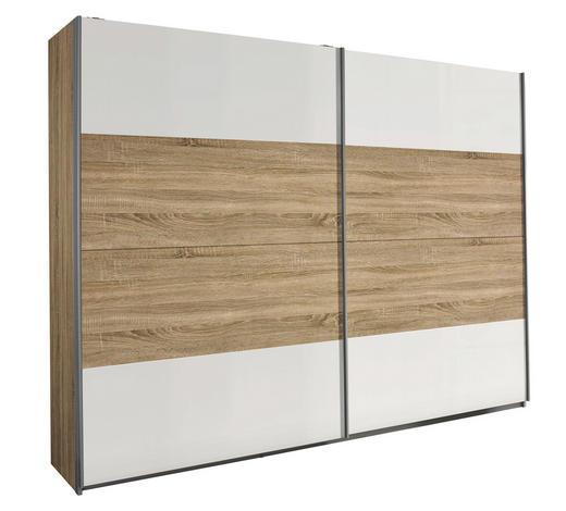 SCHWEBETÜRENSCHRANK 2-türig Weiß, Sonoma Eiche  - Silberfarben/Weiß, Design, Holzwerkstoff/Metall (226/210/62cm) - Carryhome