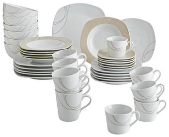 Porzellan  KOMBISERVICE 42-teilig - Hellbraun/Weiß, Basics, Keramik - Ritzenhoff Breker
