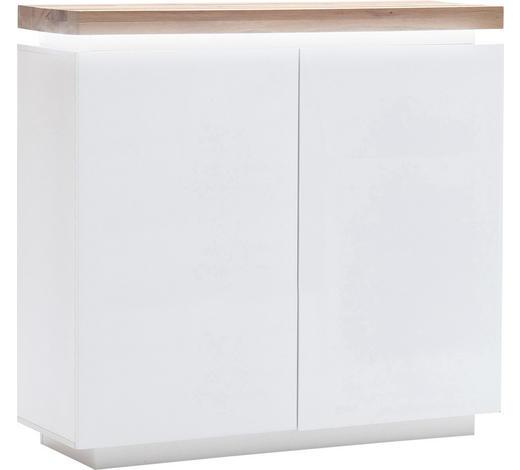 KOMMODE Eiche massiv matt, Hochglanz, lackiert Weiß, Eichefarben  - Eichefarben/Weiß, Design, Holz/Holzwerkstoff (120/114/40cm)