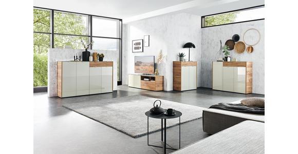LOWBOARD Eichefarben, Kaschmir  - Kaschmir/Eichefarben, KONVENTIONELL, Glas/Holzwerkstoff (177/55/40cm) - Voleo