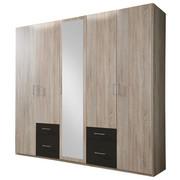 KLEIDERSCHRANK in Eichefarben, Graphitfarben - Eichefarben/Silberfarben, Design, Glas/Holzwerkstoff (225/210/58cm) - CARRYHOME