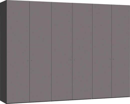 DREHTÜRENSCHRANK 6-türig Schwarz, Dunkelgrau - Dunkelgrau/Silberfarben, Design, Glas/Holzwerkstoff (303,1/220/58,5cm) - Jutzler