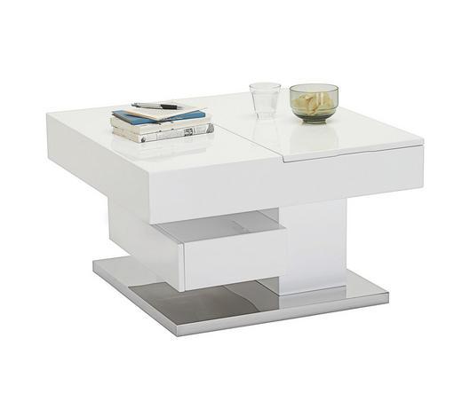 KONFERENČNÍ STOLEK, bílá, barvy nerez oceli - bílá/barvy nerez oceli, Trend, kov/kompozitní dřevo (75/75/44cm)