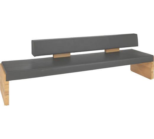 SITZBANK  in Anthrazit, Eichefarben  - Eichefarben/Anthrazit, Design, Leder/Holz (274/84/65cm) - Voglauer