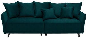 MEGASOFA in Textil Petrol  - Petrol/Schwarz, Design, Textil/Metall (226/91/103cm) - Carryhome