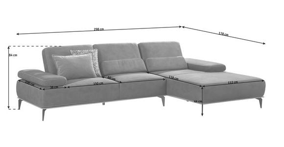 WOHNLANDSCHAFT in Textil Grau  - Beige/Bronzefarben, Design, Textil/Metall (298/178cm) - Valnatura