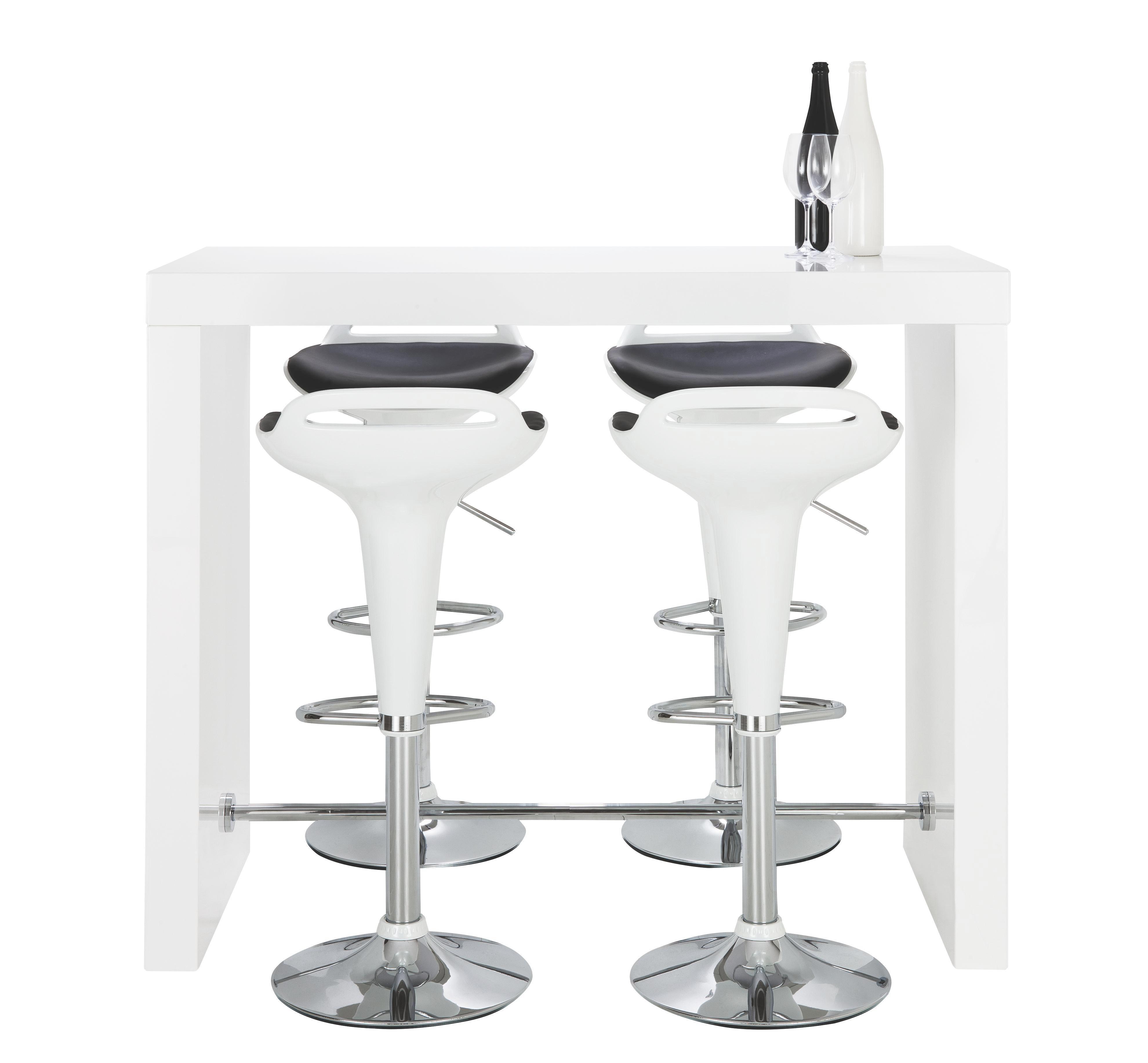 BAROVÝ STŮL - bílá, Design, kov/dřevěný materiál (130/105/60cm) - CARRYHOME