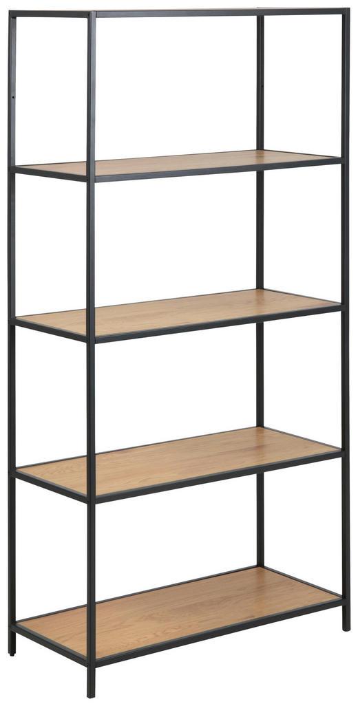 REGAL in 77/150/35 cm Eichefarben - Eichefarben/Schwarz, Trend, Holzwerkstoff/Metall (77/150/35cm) - Carryhome