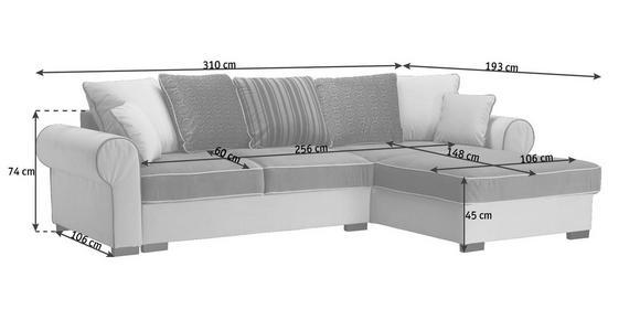 WOHNLANDSCHAFT in Textil Grau, Weiß - Braun/Weiß, ROMANTIK / LANDHAUS, Kunststoff/Textil (310/193cm) - Hom`in