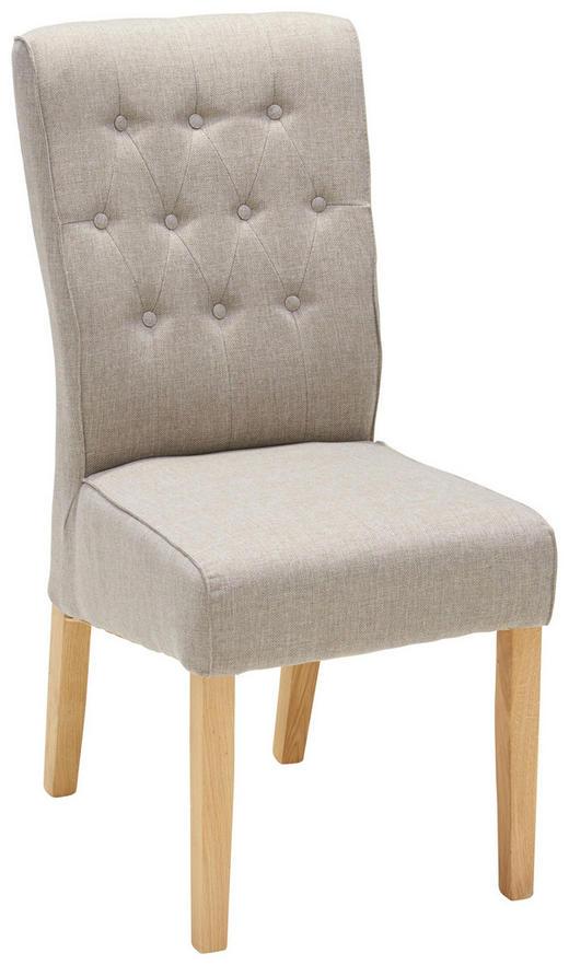 STUHL Webstoff Eiche massiv Beige, Eichefarben - Eichefarben/Beige, KONVENTIONELL, Holz/Textil (45/99/66cm) - Venda