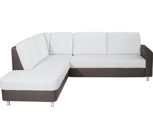 Ecksofa Grau Webstoff  - Alufarben/Grau, KONVENTIONELL, Textil/Metall (200/245cm) - Xora