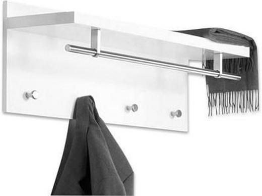WANDGARDEROBE Edelstahlfarben, Weiß - Edelstahlfarben/Weiß, Design, Holz/Metall (75/30/26cm) - CARRYHOME