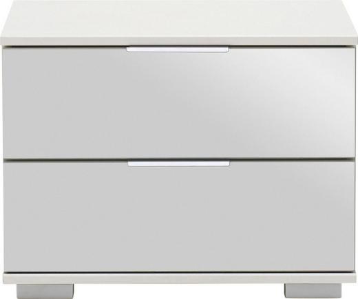NACHTKÄSTCHEN in Weiß - Alufarben/Weiß, Design, Glas/Holzwerkstoff (52cm) - Carryhome
