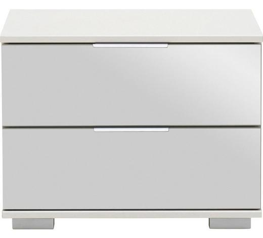 NACHTKÄSTCHEN in Weiß - Alufarben/Weiß, Design, Glas/Holzwerkstoff (52/40/38cm) - Carryhome
