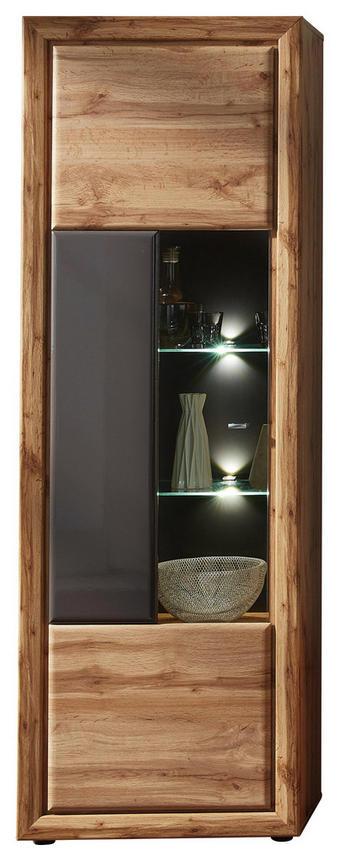 VITRÍNA, barvy dubu, šedá - šedá/černá, Konvenční, kov/kompozitní dřevo (68/202/37cm) - Cantus