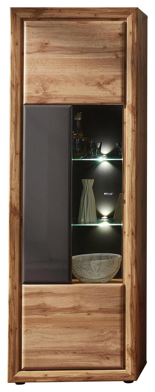 VITRINE Eichefarben, Grau - Chromfarben/Eichefarben, Design, Glas/Holzwerkstoff (68/202/37cm) - Cantus
