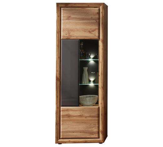 VITRINE Grau, Eichefarben  - Chromfarben/Eichefarben, Design, Glas/Holzwerkstoff (68/202/37cm) - Cantus