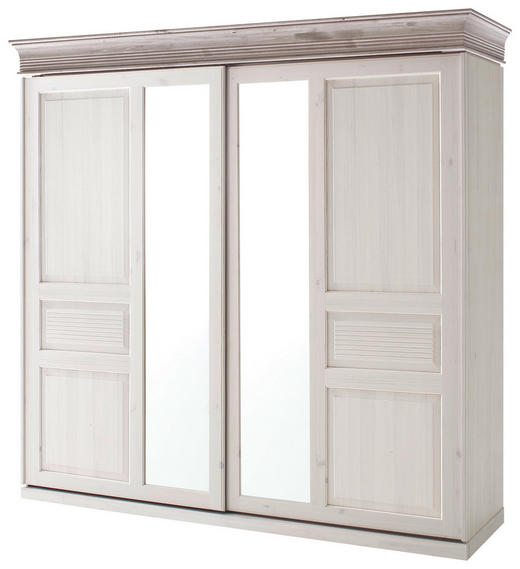 SCHWEBETÜRENSCHRANK 2  -türig Kiefer massiv Grau, Weiß - Weiß/Grau, Design, Glas/Holz (228,5/223,6/69,5cm) - Carryhome