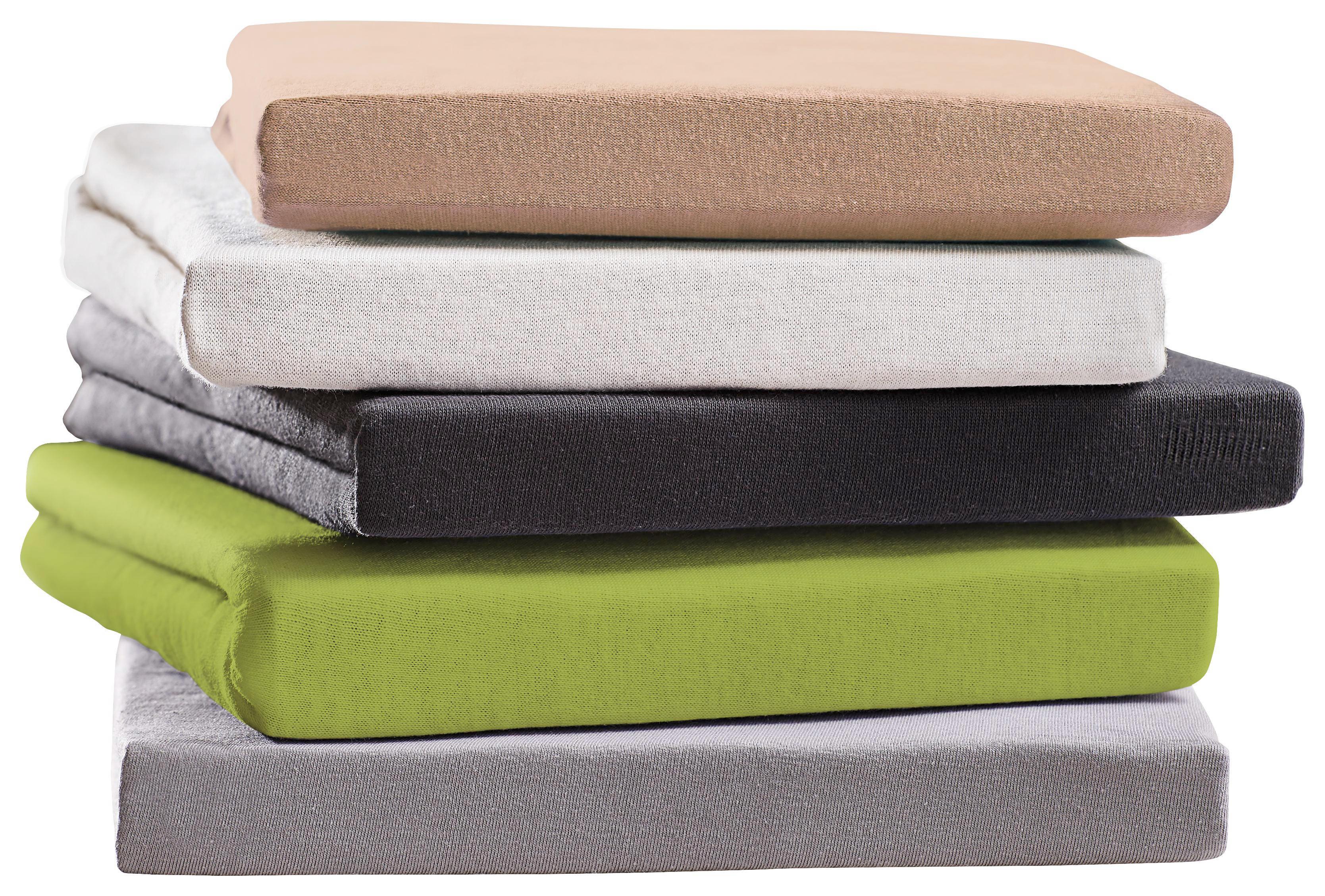 SPANNBETTTUCH Jersey Grün bügelfrei, für Wasserbetten geeignet - Grün, Basics, Textil (150/200cm) - BOXXX