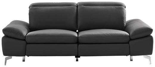 2,5-sitzer in Chromfarben, Dunkelgrau Holz, Kunststoff, Leder, Metall, Textil - Chromfarben/Dunkelgrau, Design, Leder/Holz (212/80/104cm) - Xora