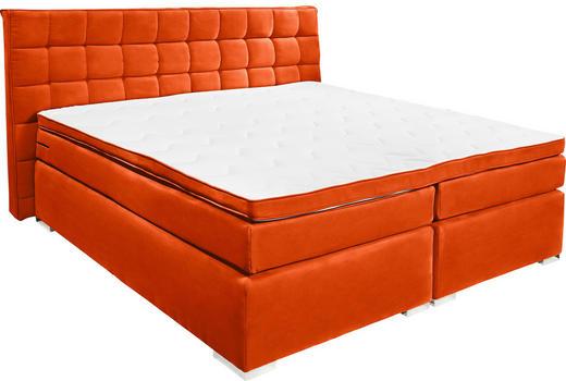 BOXSPRINGBETT Velours 140/200 cm  INKL. Matratze, Topper - Silberfarben/Orange, Design, Textil (140/200cm) - Carryhome