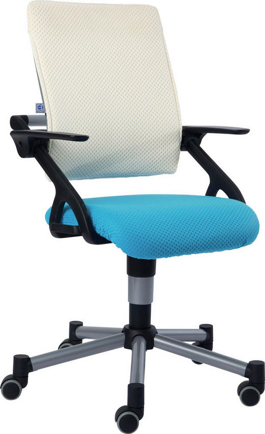 JUGENDDREHSTUHL Blau, Weiß - Blau/Weiß, Basics, Kunststoff/Textil