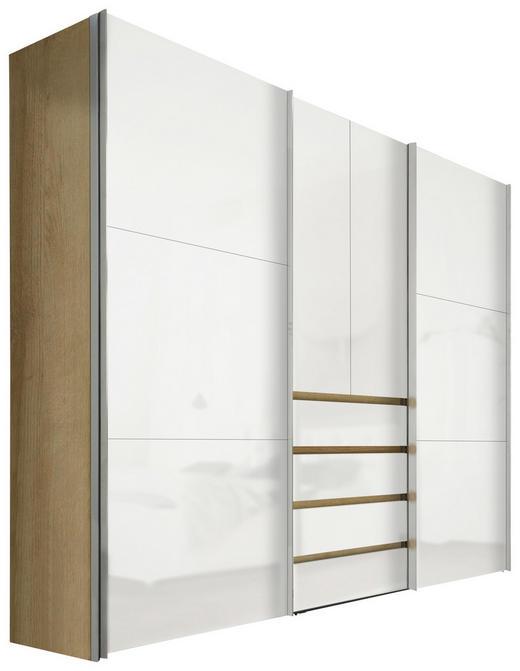 KLEIDERSCHRANK 4-türig Eichefarben, Weiß - Eichefarben/Alufarben, Design, Holzwerkstoff/Metall (300/236/68cm) - Hom`in