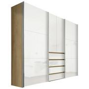 OMARA ZA OBLAČILA, bela, hrast - aluminij/bela, Design, kovina/leseni material (300/236/68cm) - HOM`IN