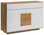 SIDEBOARD 120/87/40 cm  - Eichefarben/Weiß, MODERN, Glas/Holz (120/87/40cm) - Linea Natura