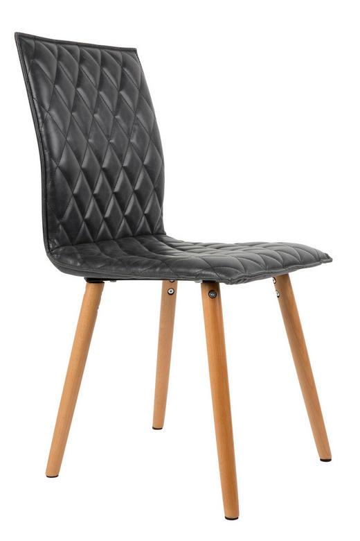 STUHL Lederlook Dunkelgrau - Dunkelgrau/Buchefarben, Design, Holz/Textil (56/42/89cm)