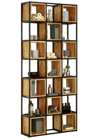 REGÁL, akácie, masivní, černá, barvy akácie - černá/barvy akácie, Trend, kov/dřevo (78/180/24cm) - Ambia Home