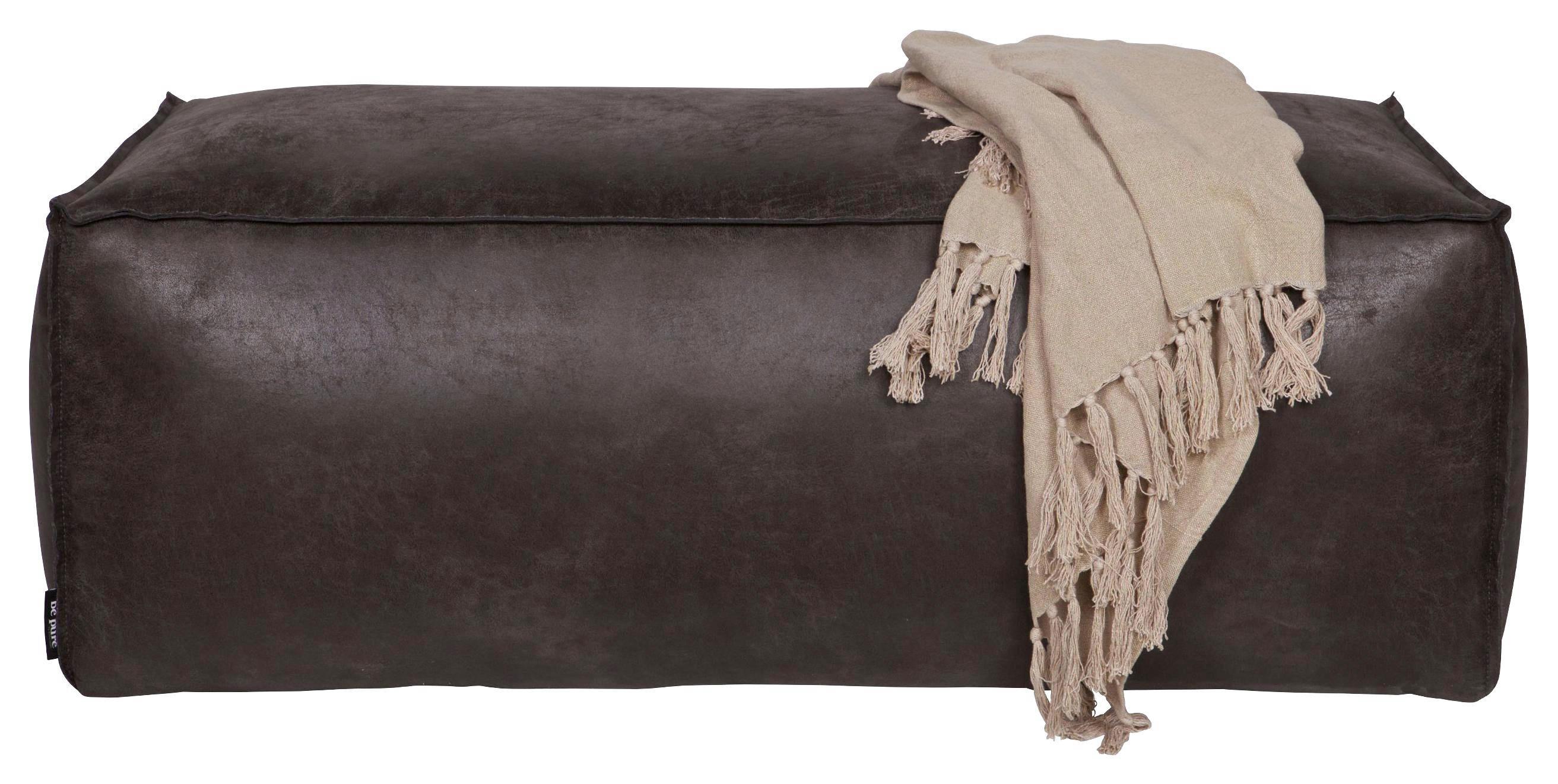 HOCKER in Leder, Textil Schwarz - Schwarz, Design, Leder/Textil (120/43/60cm) - Ambia Home