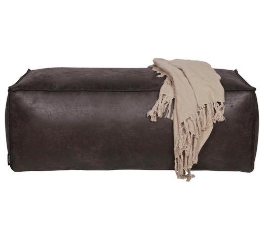 HOCKER in Textil, Leder Schwarz  - Schwarz, Design, Leder/Textil (120/43/60cm) - Ambia Home