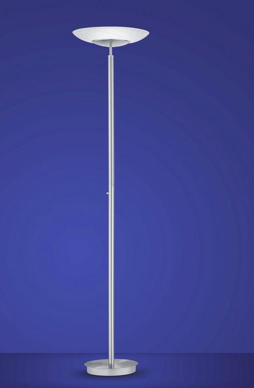 LED-STEHLEUCHTE - Weiß/Nickelfarben, Design, Glas/Metall (185cm)