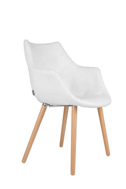 ARMLEHNSTUHL Flachgewebe Weiß - Buchefarben/Weiß, Design, Holz/Textil (60/82/60cm)