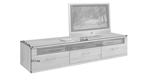 LOWBOARD 174/37,7/55,5 cm  - Silberfarben/Buchefarben, KONVENTIONELL, Glas/Holz (174/37,7/55,5cm) - Cantus