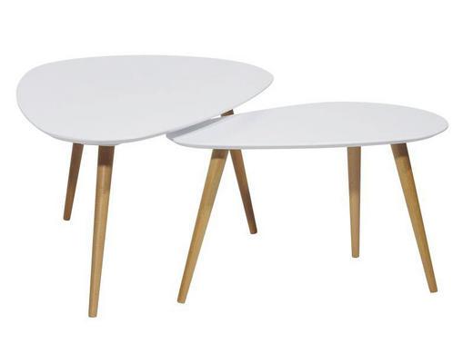 KONFERENČNÍ STOLEK - bílá/hnědá, Design, dřevo/dřevěný materiál (116/75/66/43/45/39cm) - Carryhome