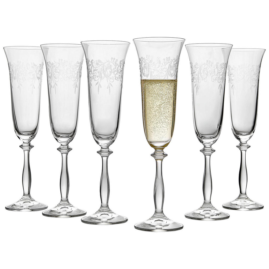 Sektglas-Set mit filigraner Gravur