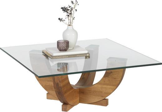 COUCHTISCH Eiche massiv quadratisch Eichefarben, Transparent - Eichefarben/Transparent, Design, Glas/Holz (85/85/35cm) - Linea Natura