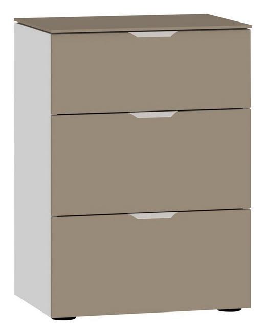 NACHTKÄSTCHEN Hellbraun, Weiß - Hellbraun/Edelstahlfarben, Design, Glas/Kunststoff (45/65/43cm) - Jutzler