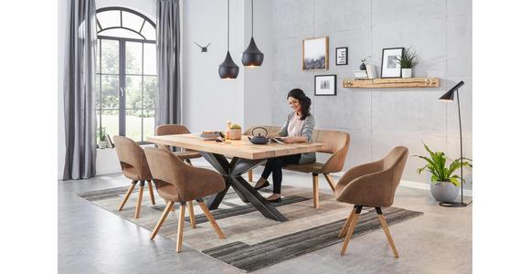 ESSTISCH in Holz, Metall 200/100/75 cm - Eichefarben/Schwarz, Design, Holz/Metall (200/100/75cm) - Valnatura